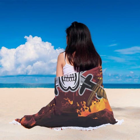 Fiery Skull and Swords - Round Beach Blanket Beach Blanket