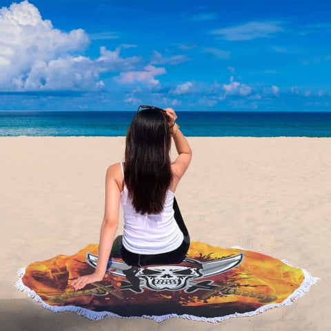 Fiery Skull and Swords - Round Beach Blanket