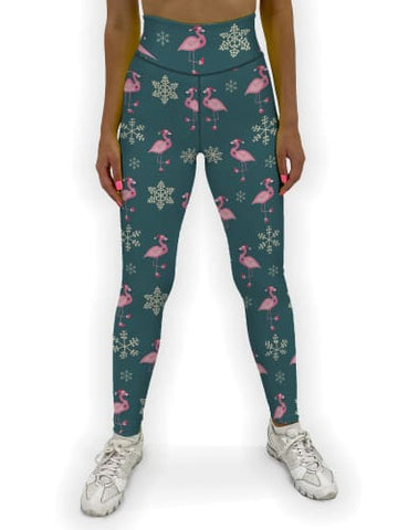 Flamingo Christmas Jean Legging XS / Green