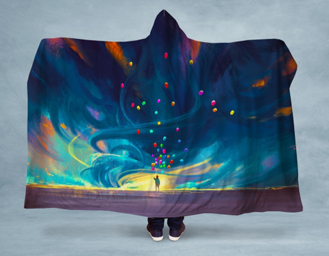 Image of Flying Balloons Hooded Blanket 80x60 / Muliticolored