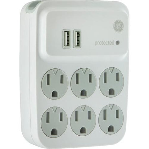 Image of GE® 6-Outlet Surge Protector with 2 USB Charging Ports Surge Protector