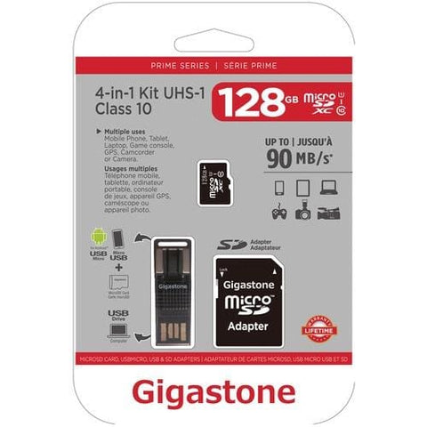 Gigastone Prime Series microSD™ Card 4-in-1 Kit (128GB) Memory Card