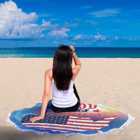 God Bless America - Round Beach Blanket