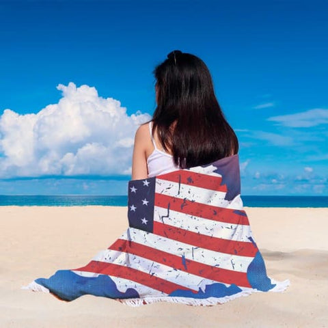 Image of God Bless America - Round Beach Blanket Beach Blanket