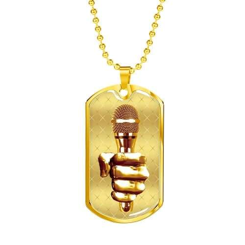 Golden Fist Gripping the Mic Luxury Dog Tag Jewelry