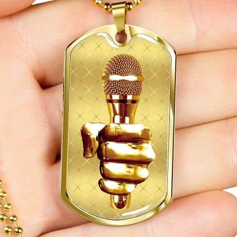 Image of Golden Fist Gripping the Mic Luxury Dog Tag Jewelry