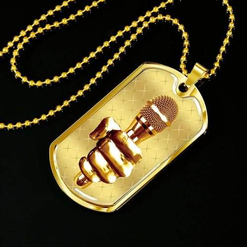 Golden Fist Gripping the Mic Luxury Dog Tag Military Chain (Gold) / No Jewelry