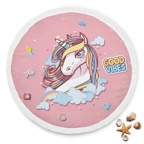 Good Vibes Unicorn Round Beach Blanket Beach Blanket