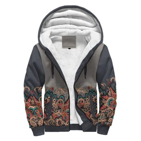 Image of Gray and Paisley AOP Sherpa Hoodie