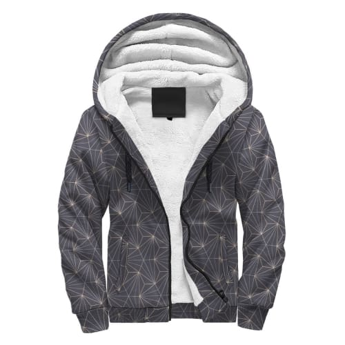 Gray and White Dandelion AOP Sherpa Hoodie