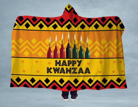 Image of Happy Kwanzaa Hooded Blanket 80x60 / Yellow