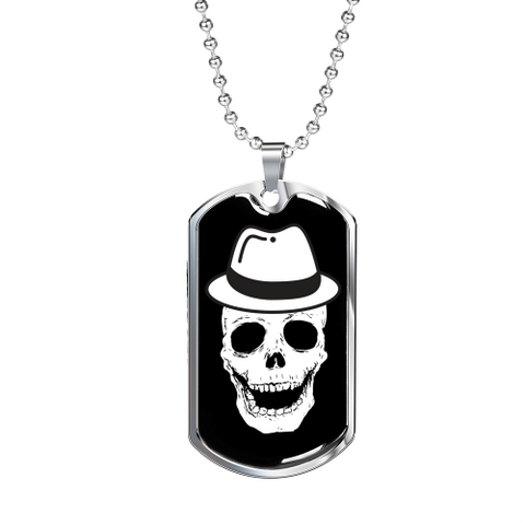 Happy Skull Luxury Dog Tag Military Chain (Silver) Jewelry
