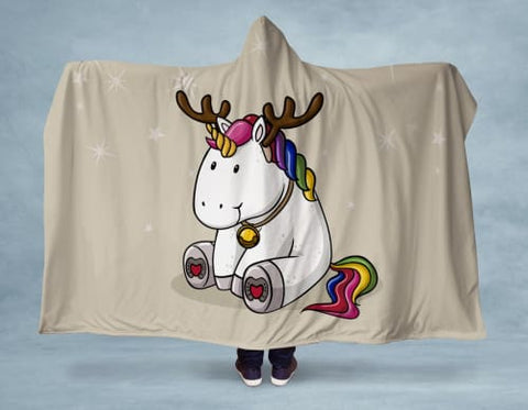 Holiday Unicorn Hooded Blanket 80x60 / Multicolored