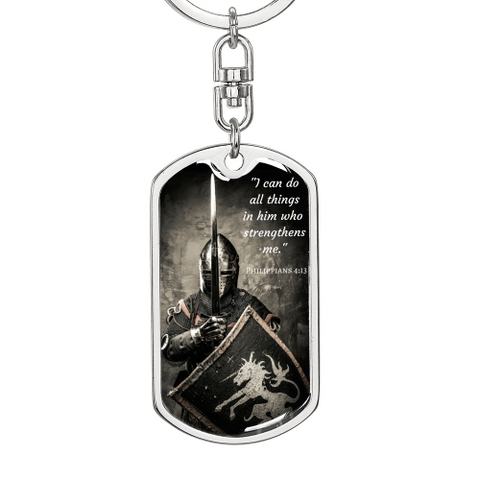 I Can Do All Things Dog Tag Swivel Keychain Keychain