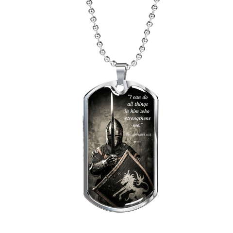 I Can Do All Things Luxury Dog Tag Military Chain (Silver) / No Jewelry