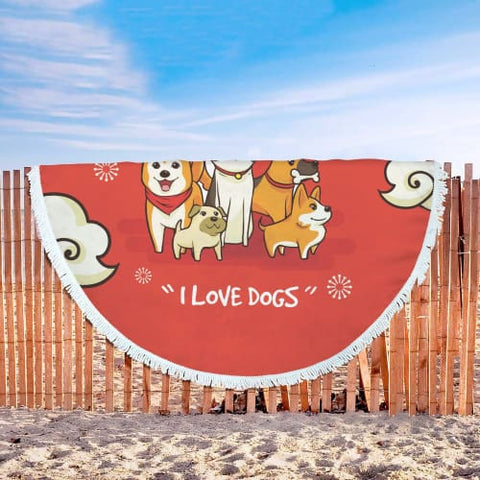 I Love Dogs - Round Beach Blanket Beach Blanket