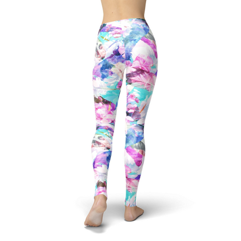 Image of Jean Pink and Blue Flowers Leggings