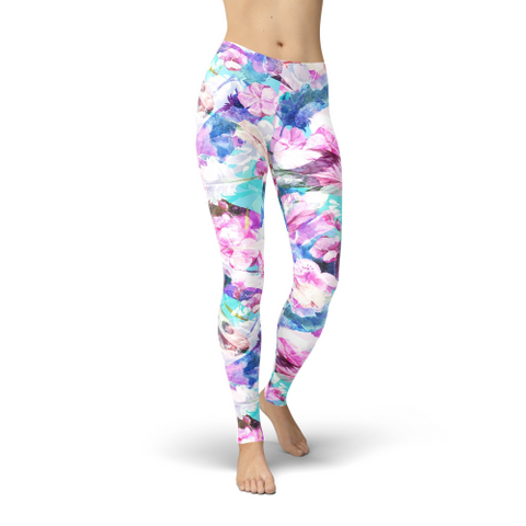 Jean Pink and Blue Flowers Leggings XS / Multi Color