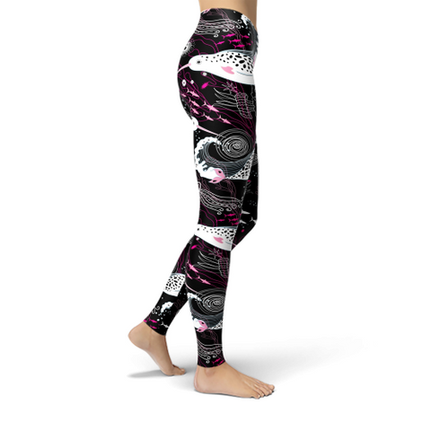 Jean Pink and White Narwhals Leggings