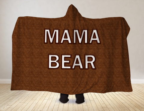 Image of Mama Bear Hooded Blanket 80x60 / Muliticolored