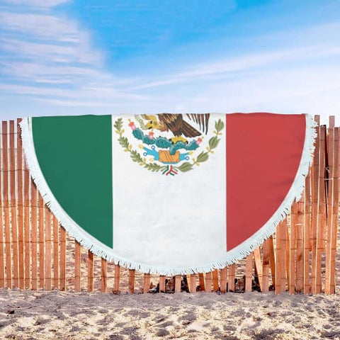 Image of Mexican Independence Day Round Beach Blanket Beach Blanket