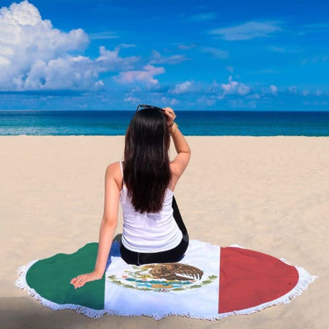 Mexican Independence Day Round Beach Blanket