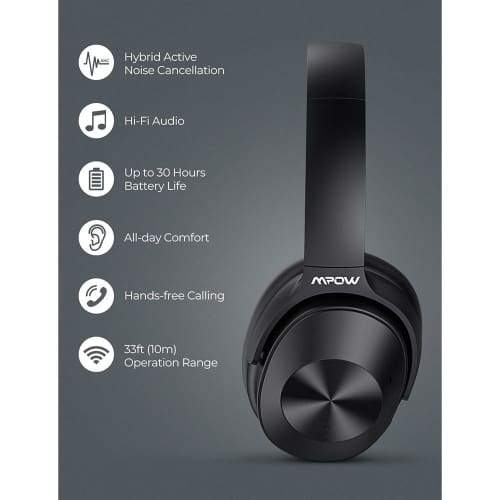 Mpow H12 Over the Ear Bluetooth Active Noise Canceling Headphone With HiFi Sound Deep Bass 30H Playtime Headphones