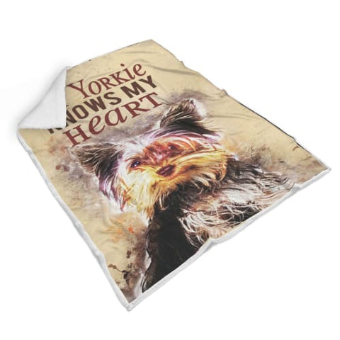 Image of My Yorkie Knows My Heart Sherpa Blanket Blanket