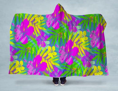 NEON Hawaii Flowers Hooded Blanket 80x60 / Multicolored