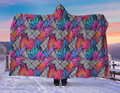 NEON Tropical Leaves Hooded Blanket 80x60 / Multicolored