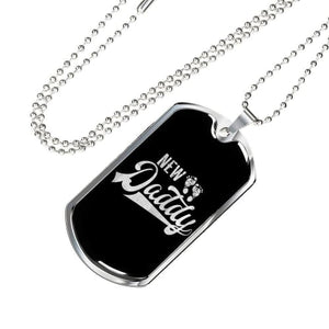 New Daddy Luxury Dog Tag Military Chain (Silver) / No Jewelry