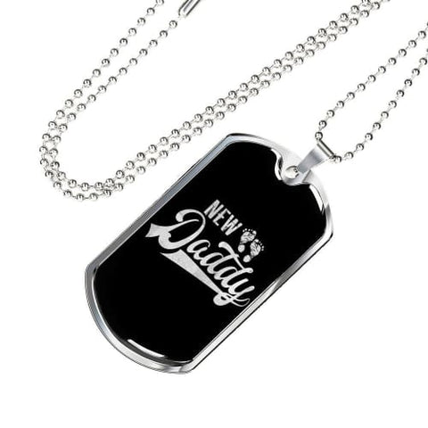 Image of New Daddy Luxury Dog Tag Military Chain (Silver) / No Jewelry