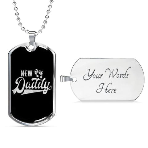 New Daddy Luxury Dog Tag Military Chain (Silver) / Yes Jewelry