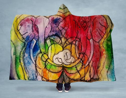 Image of Parental Love Hooded Blanket 80x60 / Multicolored
