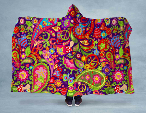 Image of Peace Paisley NEON Hooded Blanket 80x60 / Multicolored