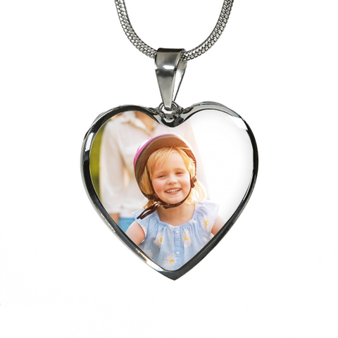 Personalized Picture Heart Shaped Necklace Luxury Necklace (Silver) / No Jewelry