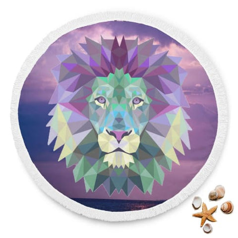 Image of Psychedelic Lion in the Sky - Round Beach Blanket Beach Blanket