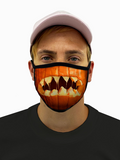 Pumpkin Mouth Halloween Face Mask With Filter Pocket S/M / Multicolored