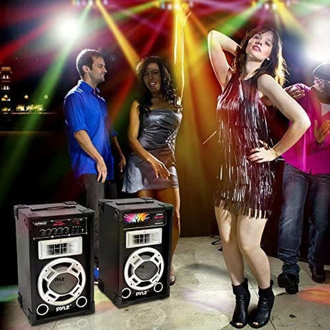 Image of Pyle Dual 800 Watt Powered PA Bluetooth Speaker System Disco Jam Two-Way DJ Speakers | Karaoke machine | USB/SD Card Readers FM Radio 3.5 mm