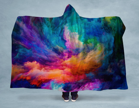 Image of Rainbow Smoke Swirl Hooded Blanket 80x60 / Muliticolored