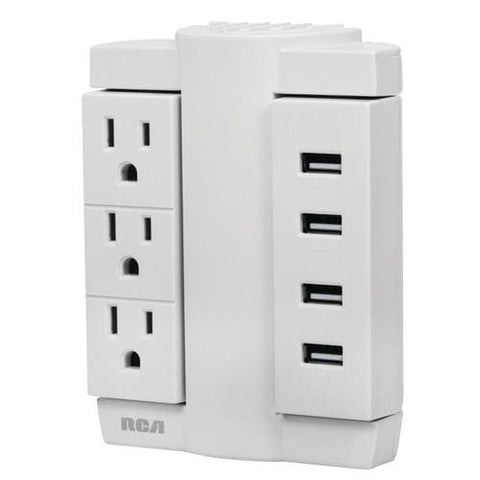RCA 3-Outlet Swivel Wall Tap with 4 USB Ports