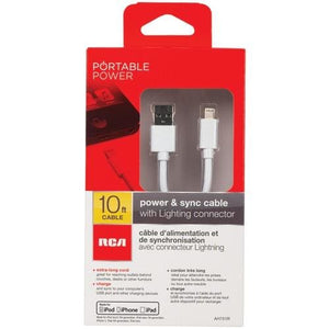 RCA Charge & Sync USB Cable with Lightning® Connector (10ft) Apple Products Charging Cable