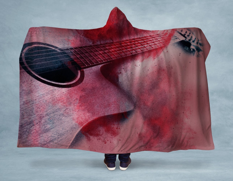 Image of Rose Guitar Hooded Blanket 80x60 / Muliticolored