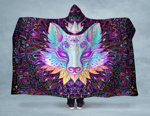 Image of Seeing Fox Hooded Blanket 80x60 / Multicolored