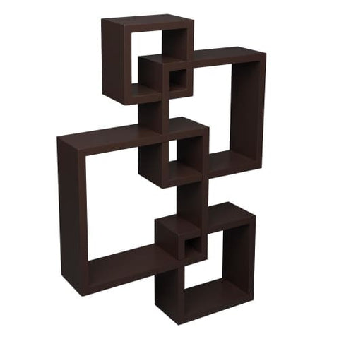Set of 4 Intersecting Decorative Color Wall Shelf Brown Wall Shelf