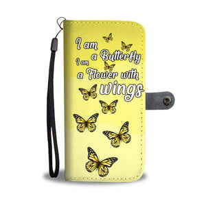 Soft Yellow Butterfly Wallet Phone Case Wallet Case