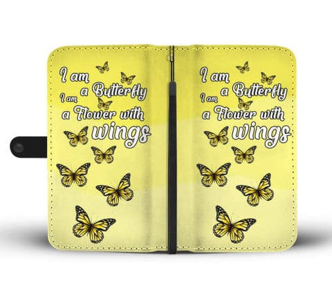 Soft Yellow Butterfly Wallet Phone Case