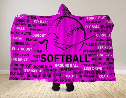 Image of Softball Hooded Blanket 80x60 / Muliticolored