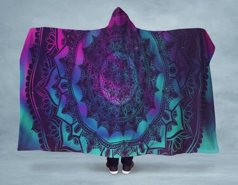 Image of Space Mandala Hooded Blanket 80x60 / Multicolored