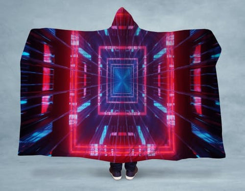 Image of Squared Hooded Blanket 80x60 / Multicolored